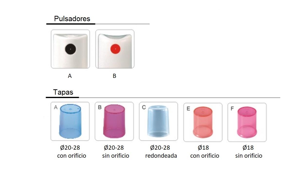 Opciones pulsadores y tapas bombas pulv FS602, FS603, FS604A, FS604B, FS605B, FS606