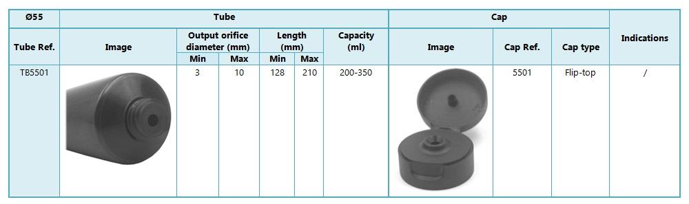 Tubes 55mm diameter