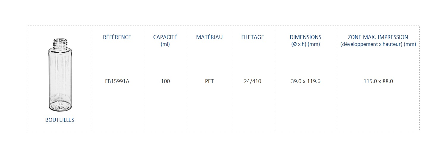 Bouteilles en PET 100ml FB1599 24/410