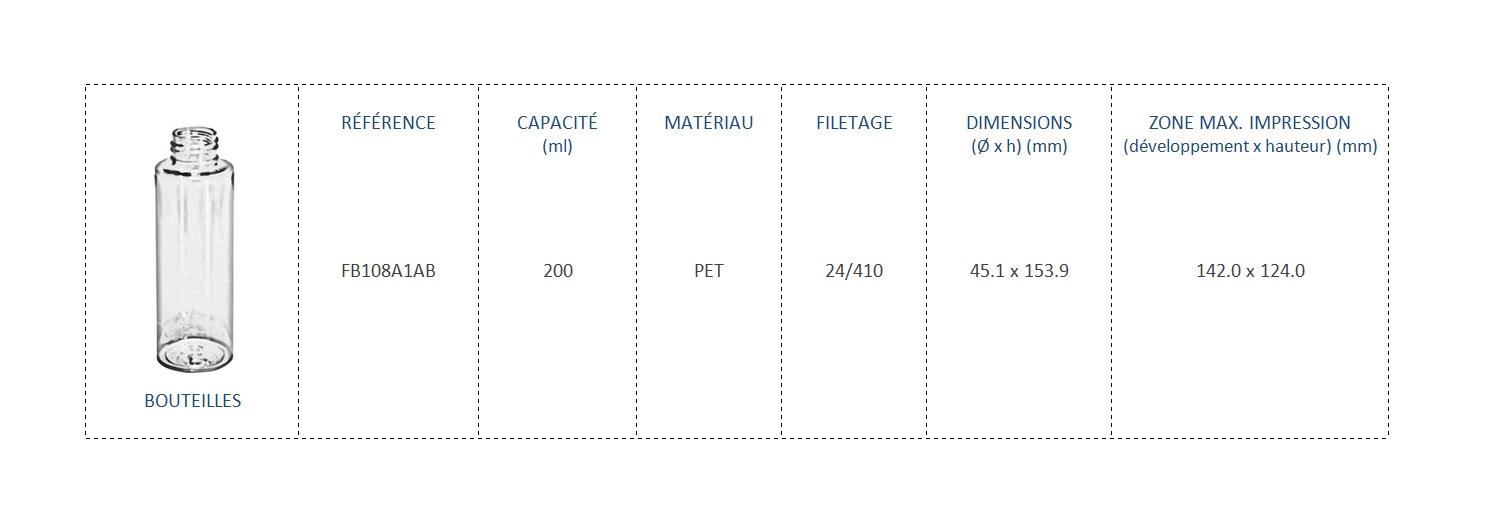 Bouteilles en PET 200ml FB108A1AB 24/410