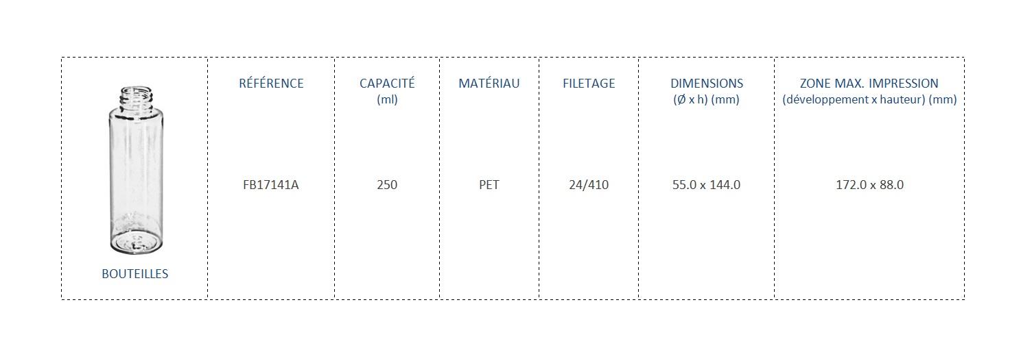 Bouteilles en PET 250ml FB17141A 24/410