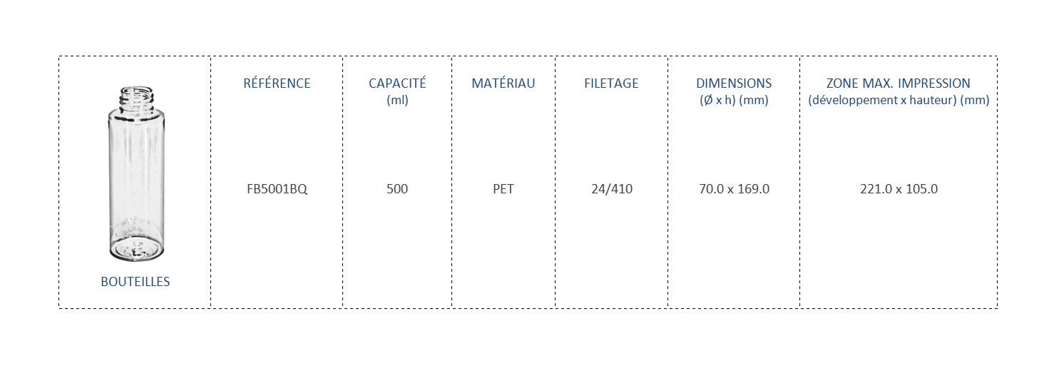 Bouteilles en PET 500mL FB5001BQ 24/410