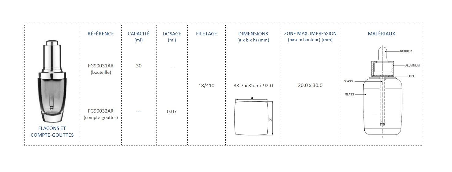 Flacons et Compte-Gouttes 30ml FG90031AR, FG90032AR