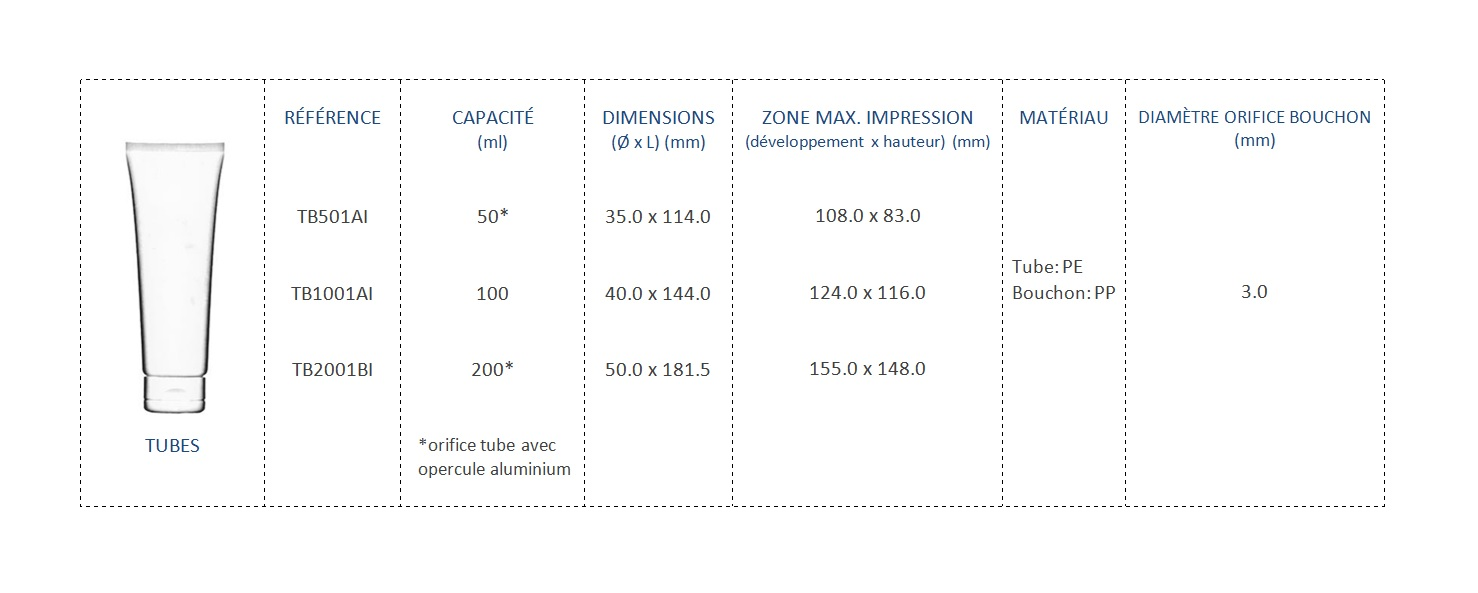 Tubes PE 50mL TB501AI, 100mL TB1001AI et 200mL TB2001BI