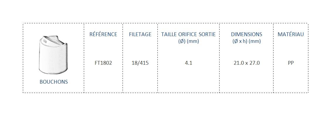 Bouchon FT1802 18/415