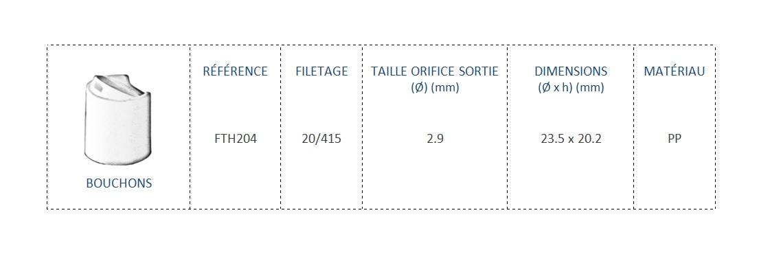 Bouchon FTH204 20/415