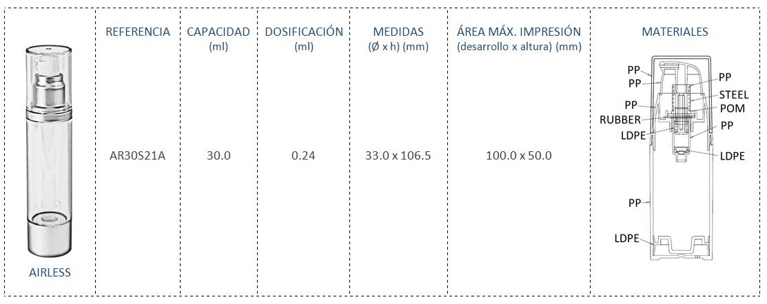 Envase Airless 30mL AR30S21A