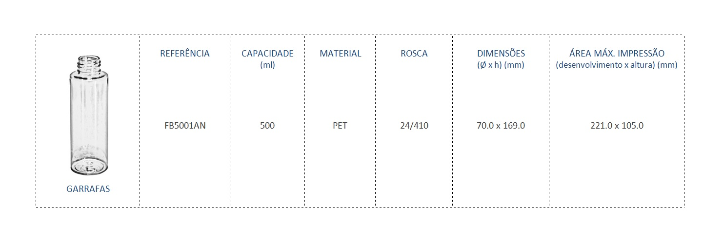 Garrafa PET 500ml FB5001AN 24/410