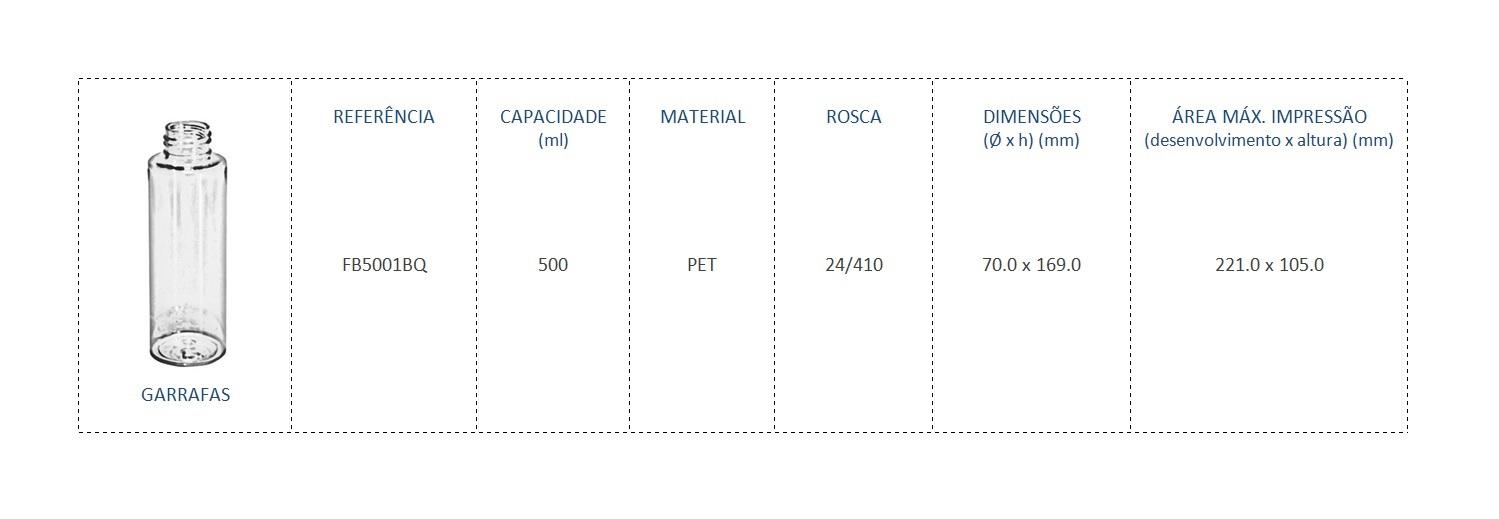 Garrafa PET 500mL FB5001BQ 24/410