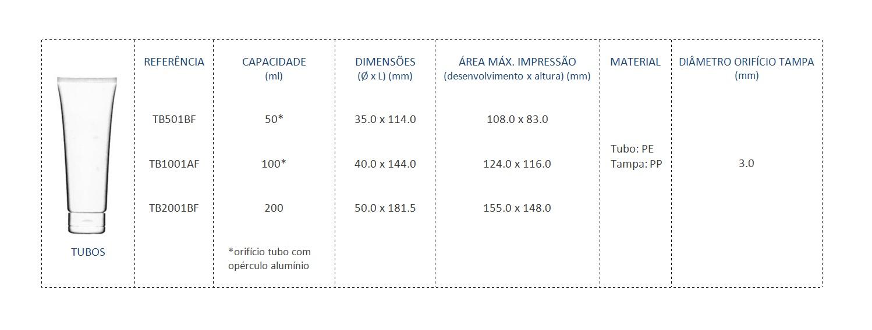 Tubos 50mL TB501BF, 100mL TB1001AF e 200mL TB2001BF