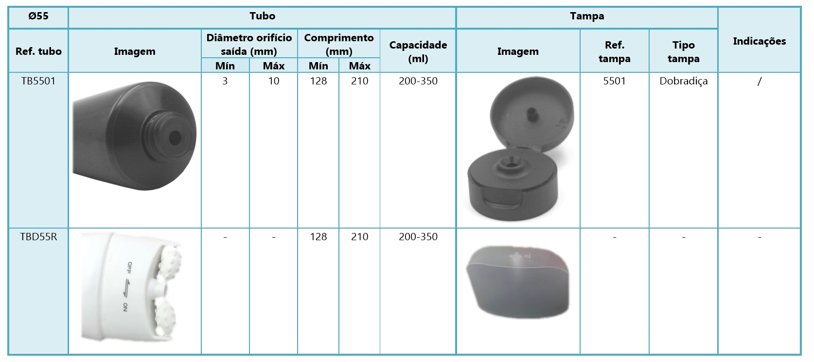 Tubos diâmetro 55mm