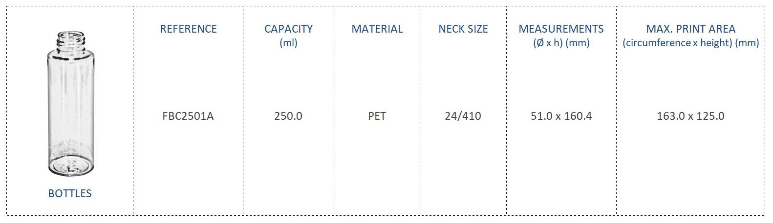 PET Bottle 250ml FBC2501A 24/410