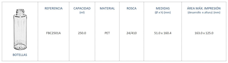 Botella PET 250ml FBC2501A 24/410