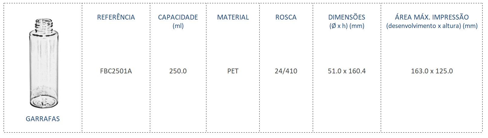 Garrafa PET 250ml FBC2501A 24/410