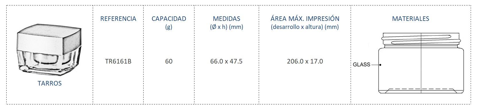 Tarro vidrio 60g TR6161B
